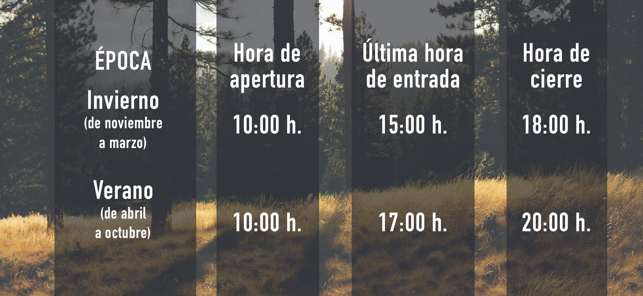 horarios de forestal park Tenerife según la temporada de invierno o verano